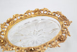 Gold Filigree and Glass Soap Dish