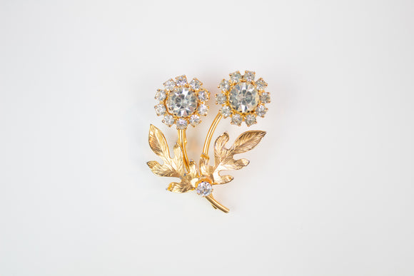 Transparent Rhinestone Double Flower Brooch
