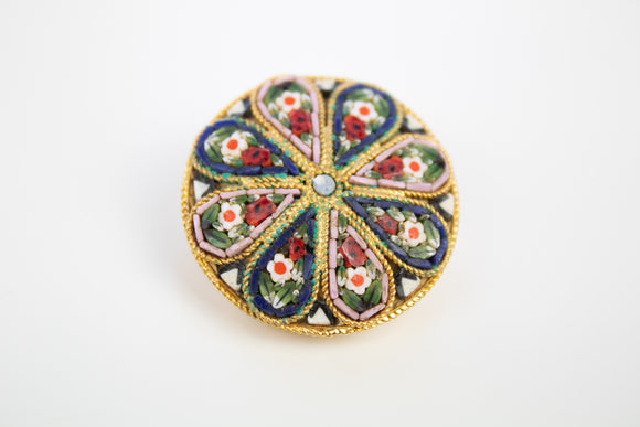 Italian Micro Mosaic Round Floral Brooch