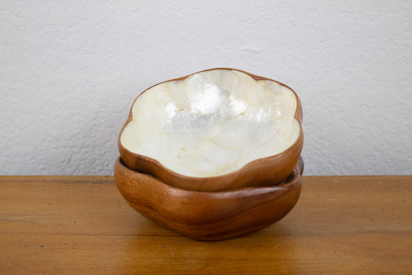 Capiz Shell and Teak Wood Scalloped Bowl