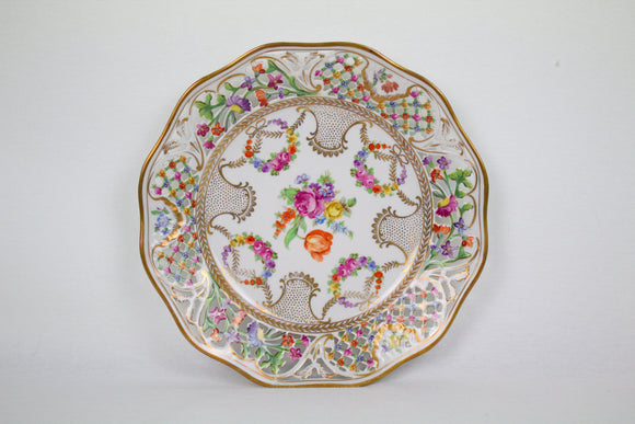 Bavarian Floral Porcelain Serving Plate