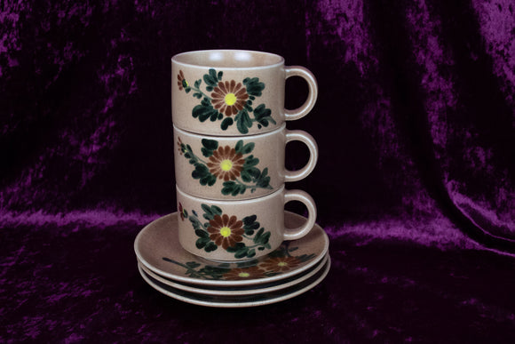 Floral Stoneware Mugs + Saucers (set of 3)