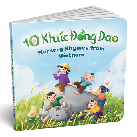 "📗 Bilingual Board Book ""10 Khúc Đồng Dao"" 10 Nursery Rhymes, from Vietnam"