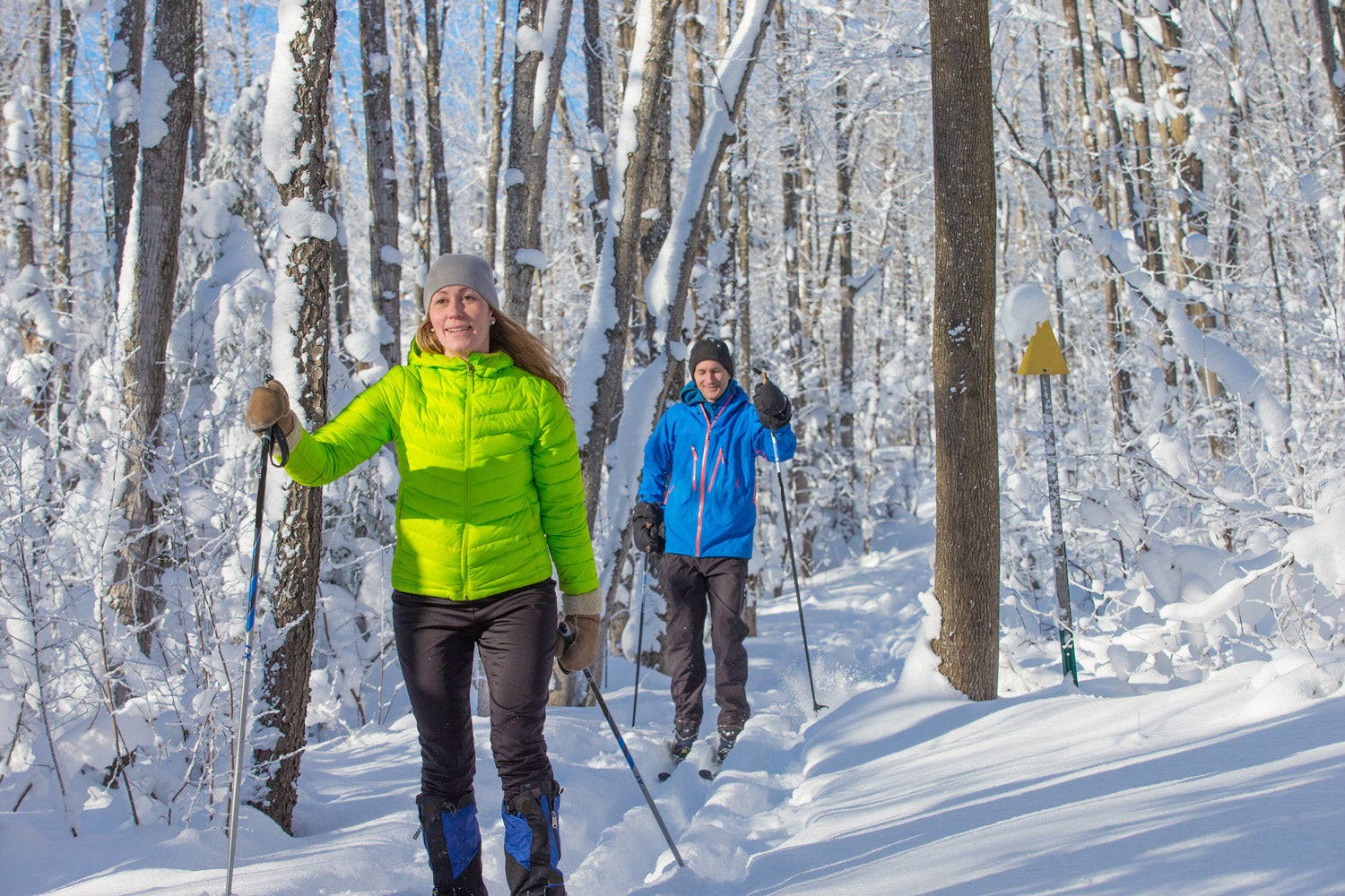 Young couple ski through a snow covered forest on nordic skis