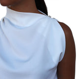 SANYA asymmetrical neck crepe top