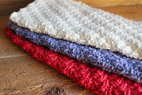 Purple, Red, Cream Knitted Dish Cloths