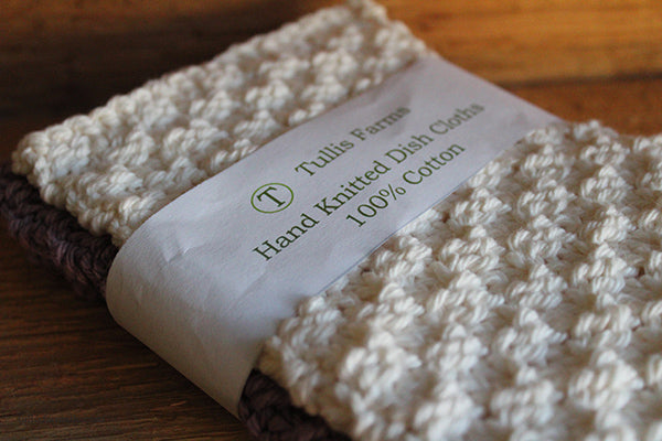 Lavender and Cream Knitted Dish Cloths