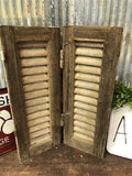 Small Antique Farmhouse Shutter, Natural Wood Shutter Architectural Salvage A12,