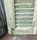 Small Green Antique Farmhouse Shutter, Wood Shutter, Architectural Salvage B15,