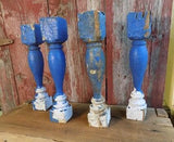 4 Balusters Blue Wood Architectural Salvage Spindles Porch Post House Trim B