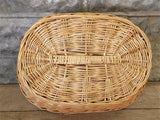 Oval Wicker Basket, Vintage German Woven Rattan Basket, Storage Organizer A7,