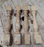 4 Balusters Painted Wood Architectural Salvage Spindles Porch House Trim A18,