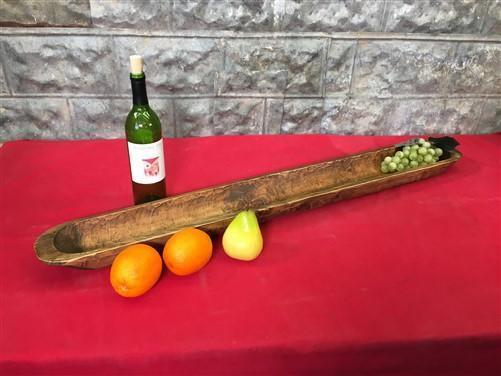 Long Wooden Bowl, Carved Wood Baguette Bread Tray, Rustic Farmhouse Decor M,