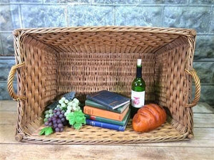 Large Rectangular Wicker Basket, Vintage German Woven Basket, Storage B43,