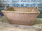 Rectangular Wicker Basket, Vintage German Woven Basket, Storage Organizer C5,