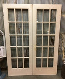 Pair French Style Glass Pane Doors, Vintage French Double Doors, 15 Panes, E19,