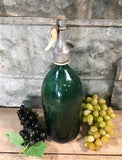 Vintage European Seltzer Bottle, Colored Glass, Soda Siphon, French Country A41,