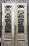 Antique French Double Doors, Wood Iron Doors, Tall Pair, European Doors D51