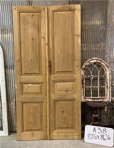 Tall Pair Antique French Double Doors, Raised Panel Doors, European Doors A38