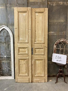 Thick Molding, Antique French Double Doors, European Doors, Tall Pair B38