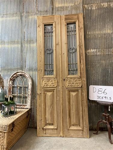 Antique French Double Doors, Wood Iron Doors, Tall Pair, European Doors D86