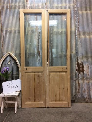 Pair Antique Single Pane Double Doors, French Glass Pane Doors, European, J3