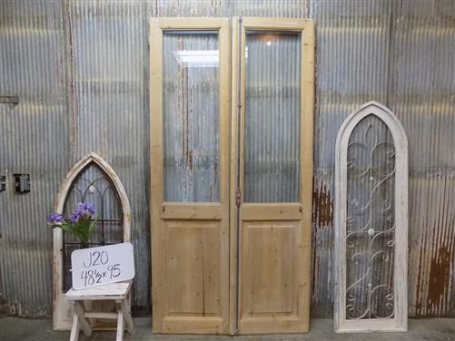 Pair Antique Single Pane Double Doors, French Glass Pane Doors, European, J20