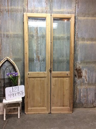 Pair Antique Single Pane Double Doors, French Glass Pane Doors, European, J21