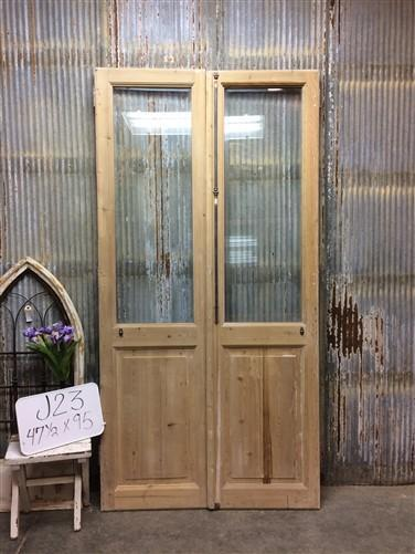 Pair Antique Single Pane Double Doors, French Glass Pane Doors, European, J23
