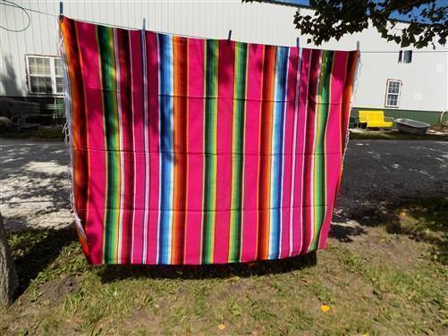 84 x 60 Southwestern Blanket Serape Indian Mexican Rug Saltillo Throw Blanket d