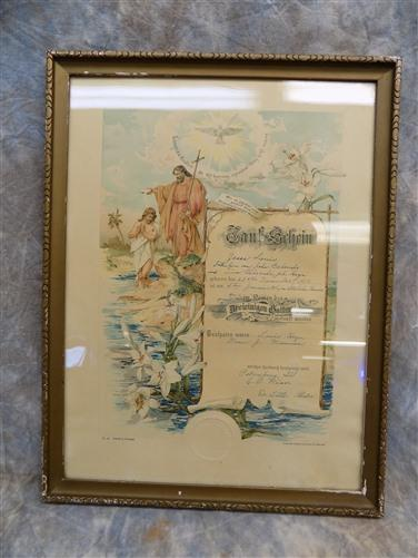 1913 Certificate Baptism Wood Frame Behrends Petersburg Illinois Lutheran Church