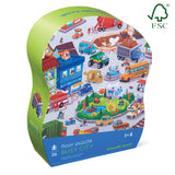 Crocodile Creek Shaped Box Puzzle Busy City 36pc