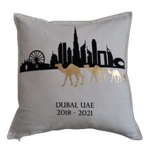 Load image into Gallery viewer, Dubai Skyline and Camels Cushion Cover - Personalised