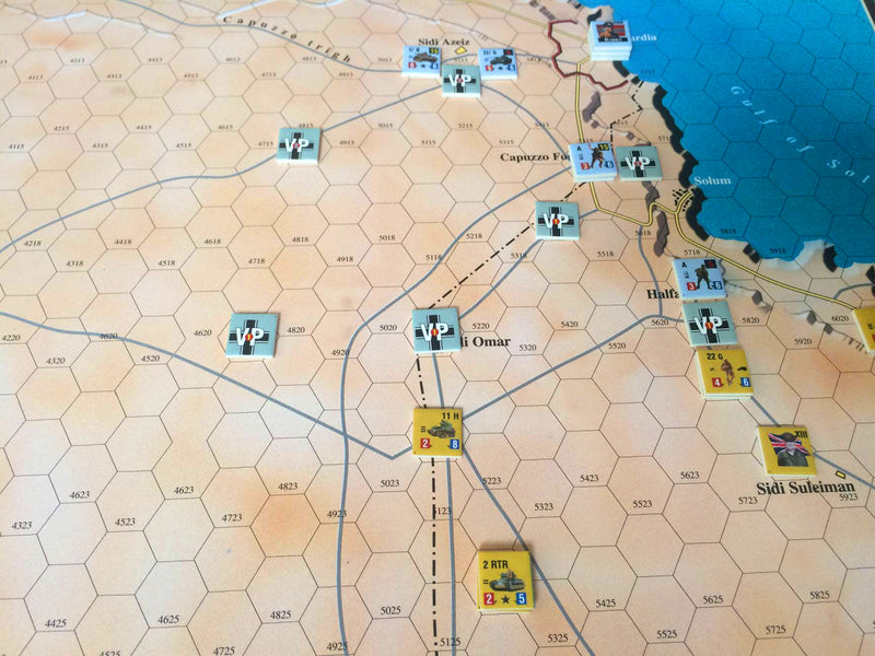 Desert Rats game, couters and map