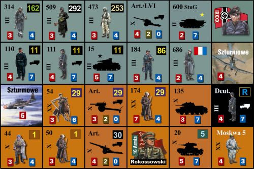 Moscow 1941 war game counters