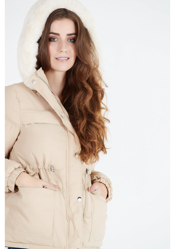 Beige Jacket with Faux Fur Hood