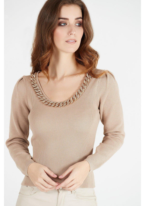 Chain Thin Ribbed Top