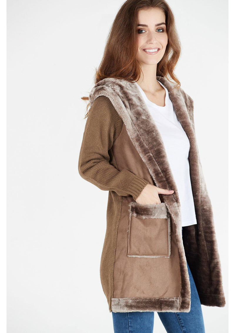 Beige Coatigan with Velvet Detail and Hood