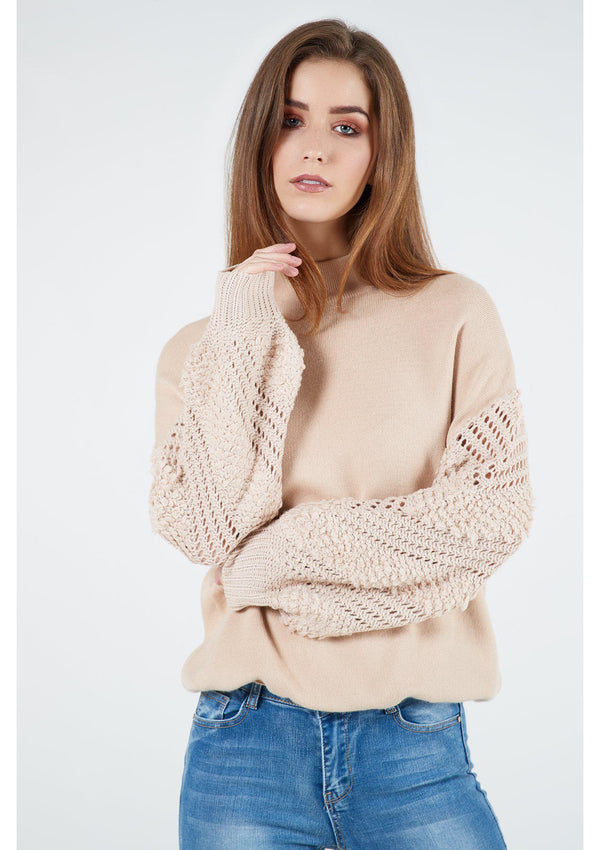 Jumper With Knit Arm Detail
