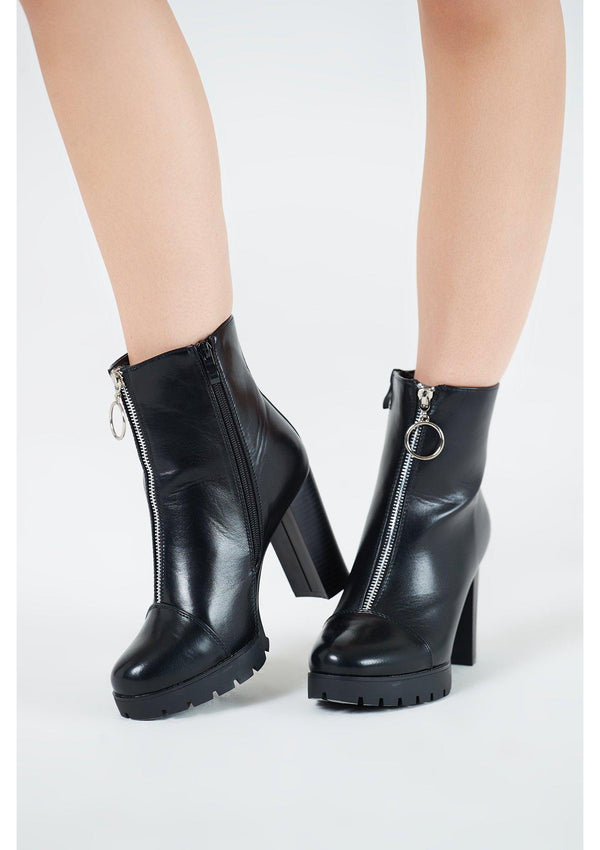 Black Ankle Boots With Ringpull Zip