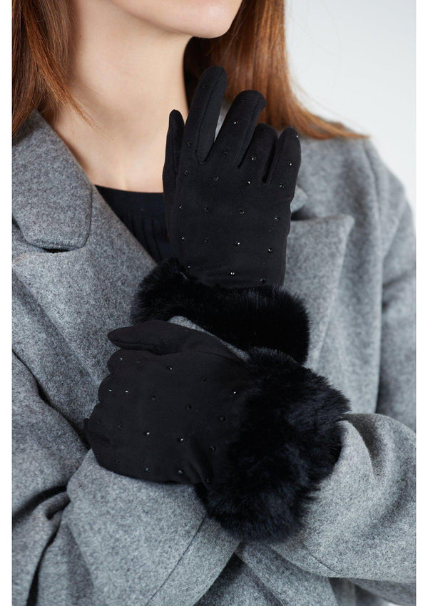 Diamante Fur Cuff Gloves