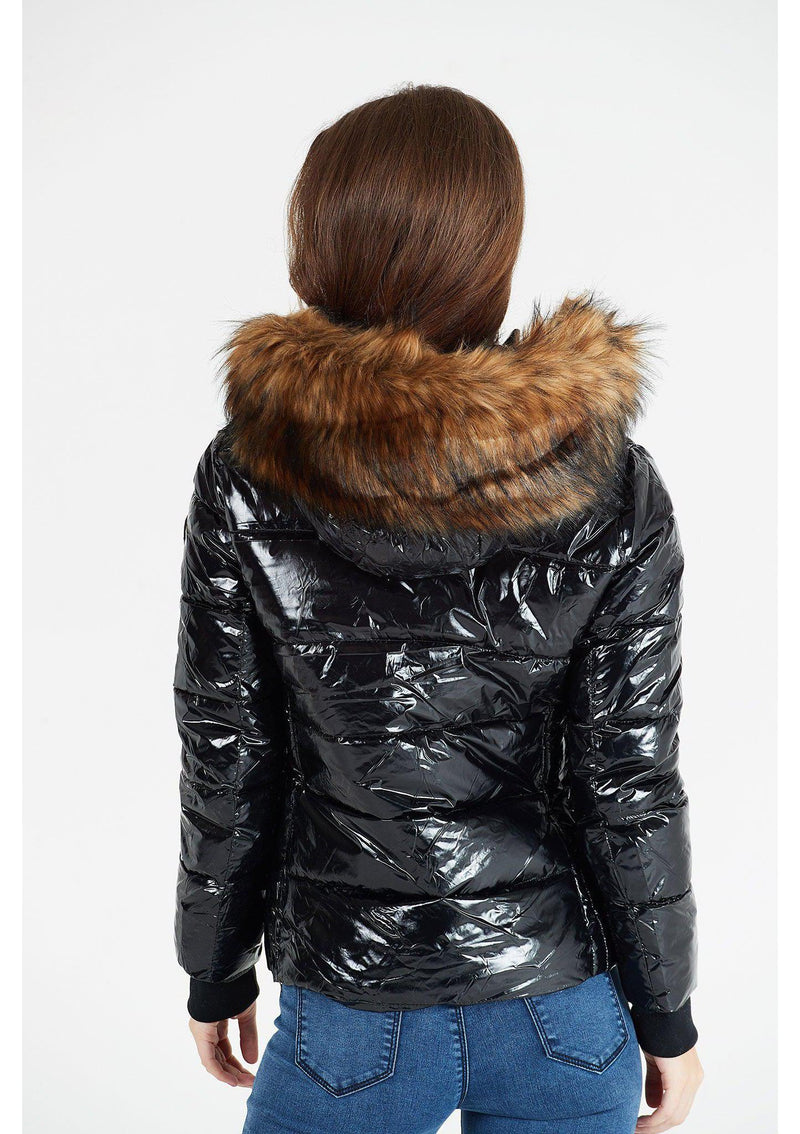 Black Vinyl Jacket with Faux Fur Hood