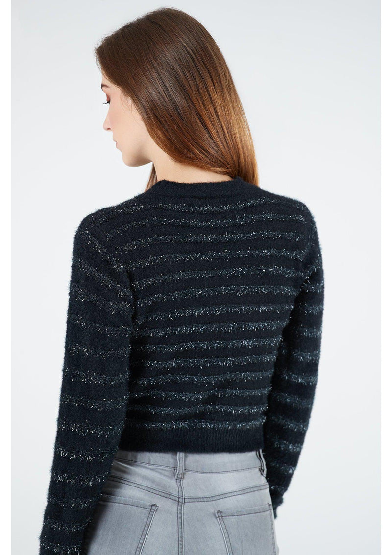 Black Glitter Cropped Jumper