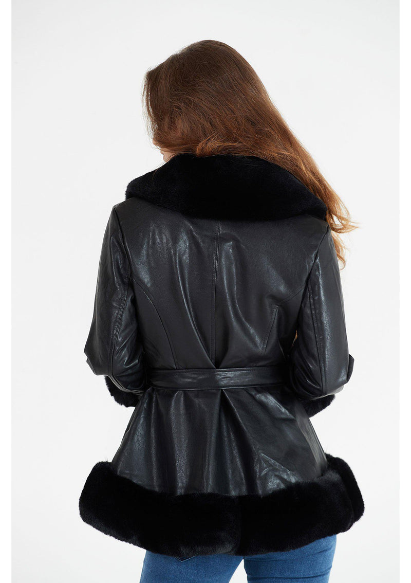 Black Jacket with Fur Trim Detail