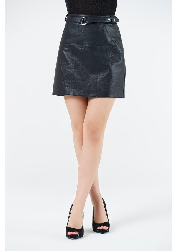 Black Leather Belted Mini Skirt