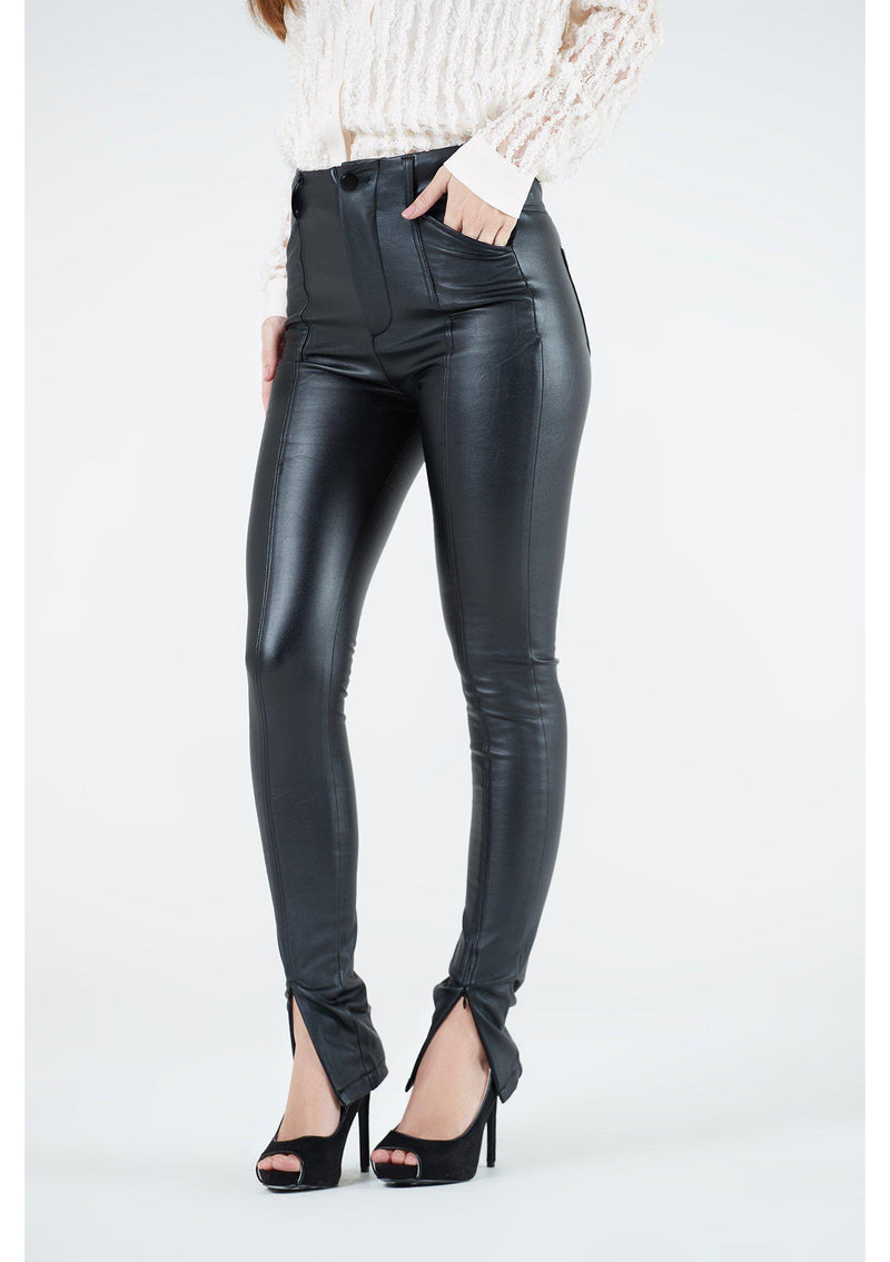 Black Leather Jeans With Split Hem
