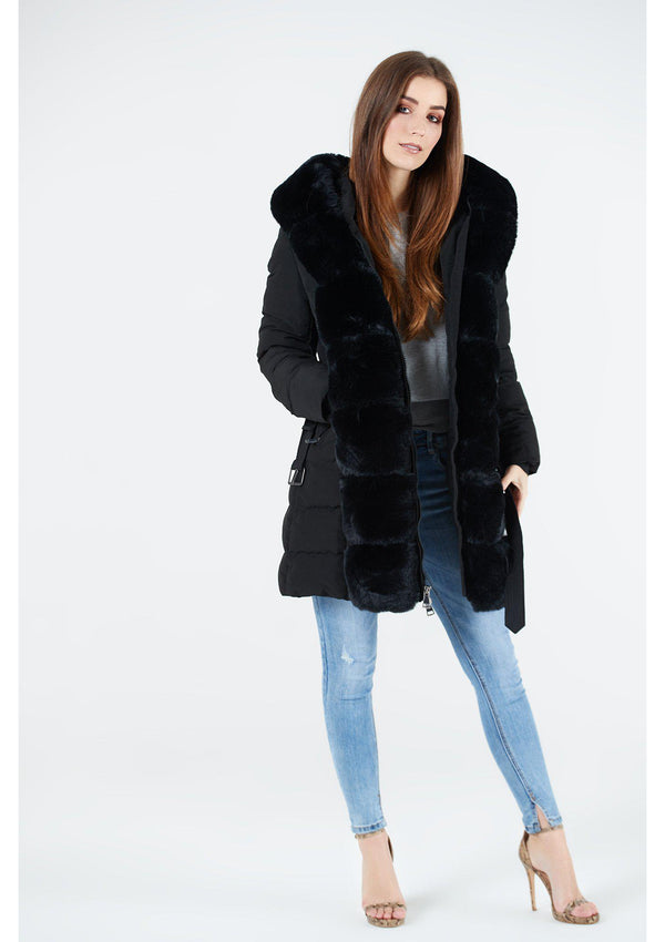 Black Long Puffa Coat With Faux Fur