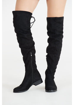Black Over the Knee Flat Suede Boots