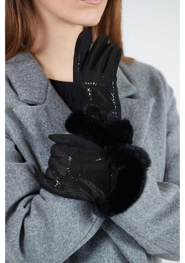 Black Snake Effect Fur Cuff Gloves