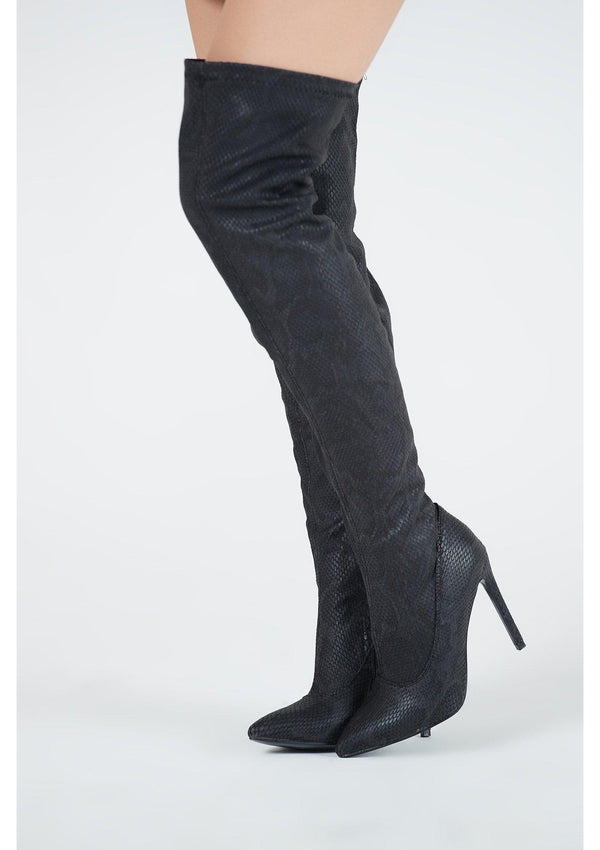 Black Snake Effect Over Knee Boots